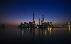 Preview wallpaper Shanghai, Huangpu, skyscrapers, river, night, lights, China