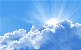 Cielo, nubes blancas, sol
