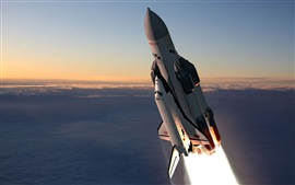 Preview wallpaper Space shuttle flight, Russian