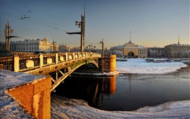 Санкт-Петербург, мост, снег, река, город, Россия
