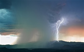 Storm, clouds, lightning, mountains