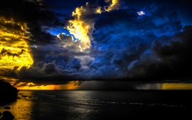 Storm, clouds, sunset, sea