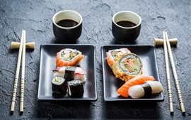 Preview wallpaper Sushi, chopsticks, Japanese cuisine
