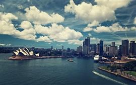 Сидней, Австралия, город, море, здания, лодки