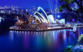 Preview wallpaper Sydney, Opera House, night, lights, sea