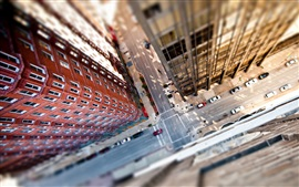 Preview wallpaper Tilt shift photography, city, top view, street, cars, skyscrapers