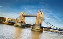 Preview wallpaper Tower Bridge, London, England, river, blue sky