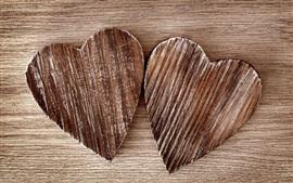 Aperçu fond d'écran Deux coeurs d'amour, planche de bois