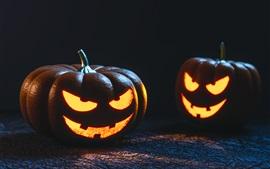Two pumpkin lamps, Halloween, dark
