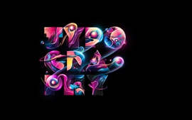 Tipografia, colorido, design abstrato
