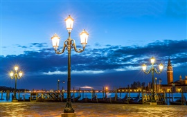Venice, night, lights, river, clouds, Italy