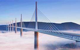 Viaducto, puente, Francia, niebla, montaña, ciudad
