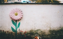 Wall, flower, painting