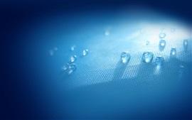 Капли воды, ткань, свет, синий