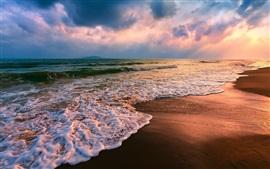 Playa húmeda, mar, olas, espuma, puesta de sol