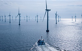 Wind power station, sea, boat