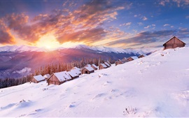 Winter, snow, slope, houses, mountains, clouds, sunset
