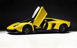 Preview wallpaper Yellow Lamborghini supercar, doors opened