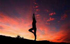 Aperçu fond d'écran Silhouette de yoga, coucher de soleil