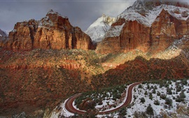 Preview wallpaper Zion National Park, USA, mountains, road, snow