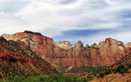 Preview wallpaper Zion National Park, rock mountains, sky, clouds, USA