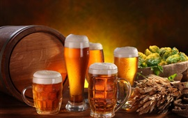 Preview wallpaper Alcoholic beverages, beer, foam, mugs, barrel, wheat