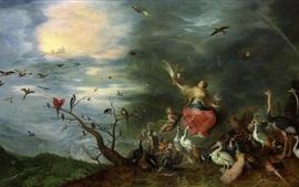 壁紙のプレビュー 空気の寓意、油絵、ジャン・ブリューゲル