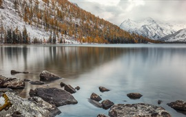 Preview wallpaper Altai Mountains, ridge, Multinskoe Lake, trees, stones, snow