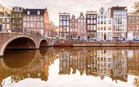Амстердам, Нидерланды, река, мост, дома