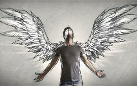 Preview wallpaper Angel, wings, art drawing