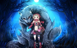 Preview wallpaper Anime girl and wolf