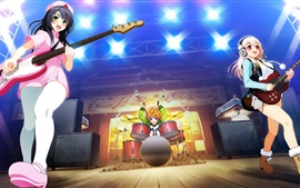 Anime girls, scène de performance, guitare, chanson