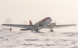Preview wallpaper Antarctica, plane, snow, ice