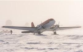 Aperçu fond d'écran Antarctique, avion, neige, glace