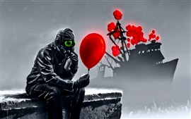 Art drawing, mask, ship, red balloon