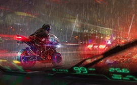 Art drawing, motorcycle, rainy, city, night