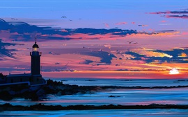 Pintura artística, farol, mar, pôr do sol, pássaros