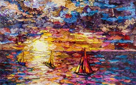 Art painting, sea, sailboats, colorful