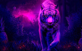 Preview wallpaper Art painting, white tiger walk to you
