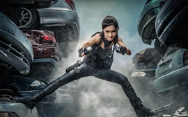Preview wallpaper Asian girl, guns, pose, smoke, cars