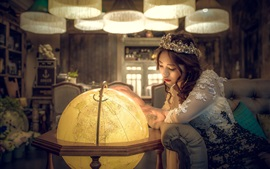 Preview wallpaper Asian girl look at globe, shine, crown