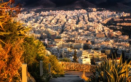 Preview wallpaper Athens, Greece, city, houses, top view, sun