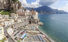 Preview wallpaper Atrani, Salerno, Italy, Europe travel, cityscape, city, coast