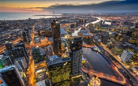 Australia, Melbourne, Eureka Tower, skyscrapers, lights, dusk