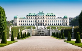 Preview wallpaper Austria, Vienna, Palace, fountains, sculpture, lawn