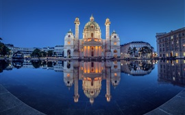 Preview wallpaper Austria, Vienna, church, Karlsplatz, pond, night, lights
