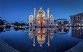Áustria, Viena, igreja, Karlsplatz, lagoa, noite, luzes