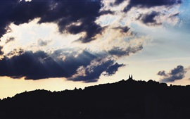 Austria, castle, clouds, sun rays, backlight