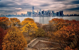 Autumn, Manhattan, New York, skyscrapers, river, park, trees