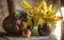 Preview wallpaper Autumn, apples, basket, yellow leaves